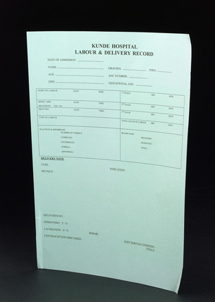 Labour and delivery record, Nepal, c 2005.