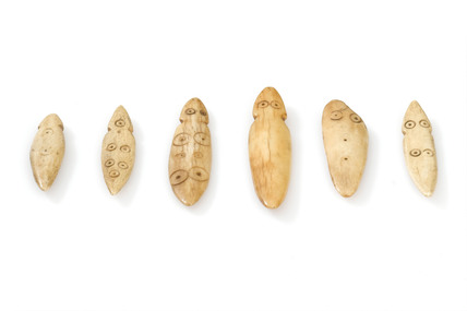 Set of six divination bones, Zambia 1880-1920.