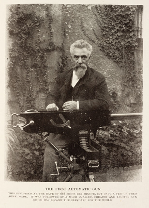 Sir Hiram S. Maxim with the first automatic gun.