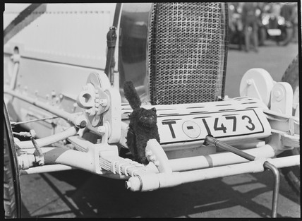 Black cat mascot on a Bugatti racing car, Germany, 1932.