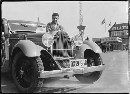 Prince Lobkowicz with a Bugatti, Germany, 1932.