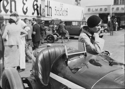 Frau Steinweg beside an Alfa Romeo Monza racing car, Berlin, 1932.