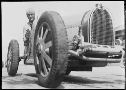 Louis Chiron in his Bugatti, Nurburgring, Germany, 1932.