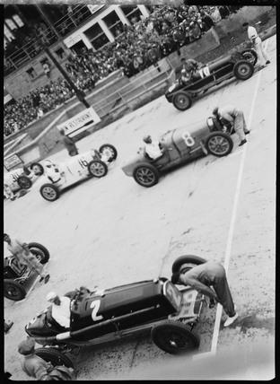 Racing cars on the starting grid, Nurburgring, Germany, 1932.