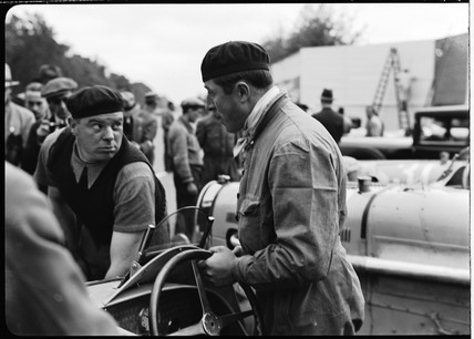 Pierre Veyron and Robert Aumaitre at a motor race, Berlin, 1933.