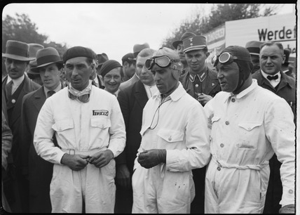 Eugenio Siena, Tazio Nuvolari and Baconin Borzacchini, Berlin, 1933.