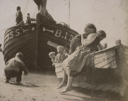 Beach scene, portrait of children, c 1900-1905.