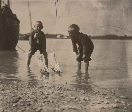 Beach scene, portrait of two boys, c 1900-1905.