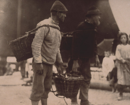 Fishermen with their catch at the quayside, c 1900-1905.
