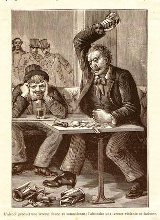 Absinthe versus Alcohol, c 1900.