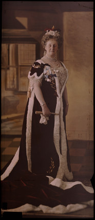 Portrait of a woman in coronation robes, c 1912.
