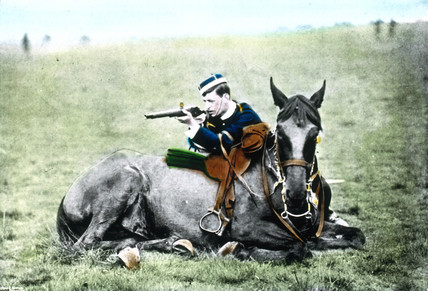 Cavalry soldier about to shoot, c 1900.