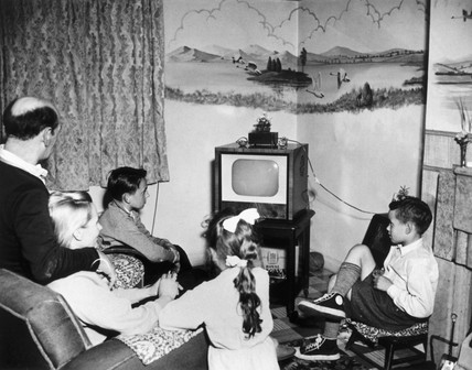 Family watching television, 15 May 1957.