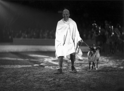 'Mahatma Gandhi' leading a goat around a circus ring, c 1930s.