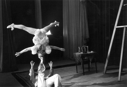 Two theatre performers on stage, c 1920s.