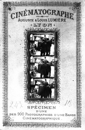Poster advertising a Lumiere Brothers film, France, c 1890.