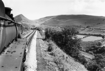 Sugarloaf Mountain seen from the footplate of a train, Wales, 1952.