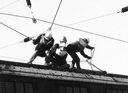 Workmen electrifying the East Coast Main Line, 1989.