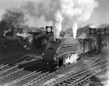 'Miles Beevor' steam locomotive leaving Leeds Central Station, c 1953.