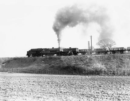 Freight train hauled by a Garratt locomotive, Worcestershire, March 1950.