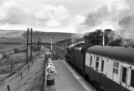 'The Sherwood Forester' steam locomotive, Garsdale Station, c 1950s.