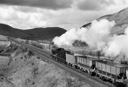 Goods steam locomotive, Lune Valley, Durham, 1954.