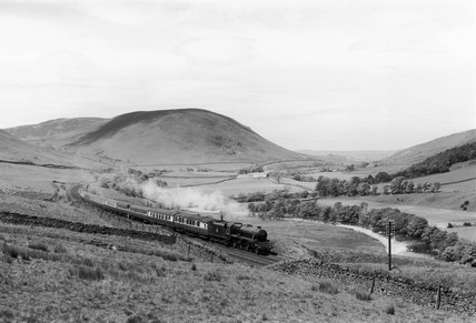 'British Railways' steam locomotive, Lune Valley, Durham, mid-1950s.