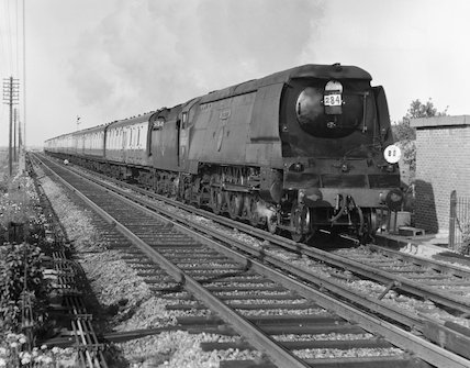 Steam locomotive 'Tangmere', Faversham, Kent, 1958.