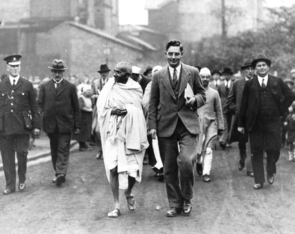 Mahatma Gandhi on an official tour, 1931.