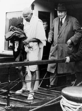Mahatma Gandhi arriving at Folkestone, Kent, 1931.