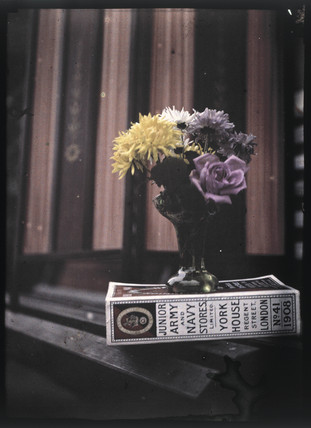 Autochrome of flowers on a book, c 1908.