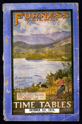 Front cover of the Furness Railway timetable, 1915.