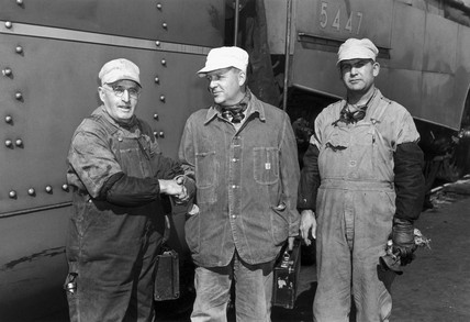 Ransome-Wallis with driver and fireman, USA, 1941.