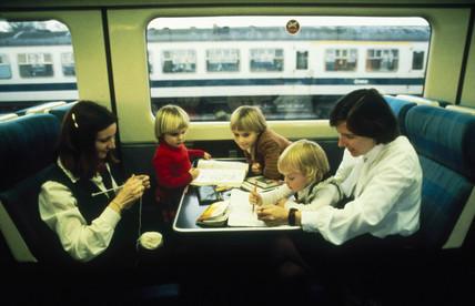 Passengers on an HST, c 1980s.