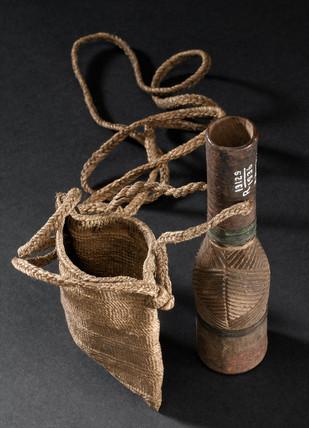 Medicine bottle and string bag, Kenyan, 1880-1920.