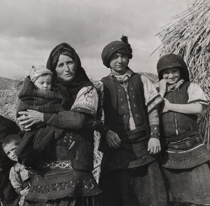 A Florina peasant family wearing traditional Slav costumes, Greece, 1947.