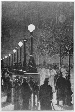 Jablochkoff Candles on the Victoria Embankment, December 1878.