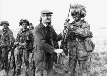John Nott in Port Stanley, Falkland Islands, 26 October 1982.