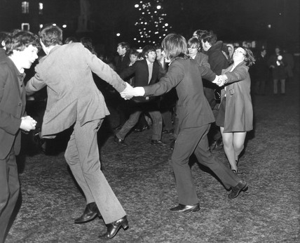 New Year's celebrations, Albert Square, Manchester, 31 December 1969.