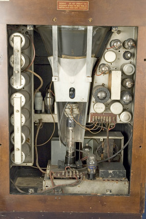 Inside of the Marconiphone model 702 mirror-lid television receiver, c 1936.