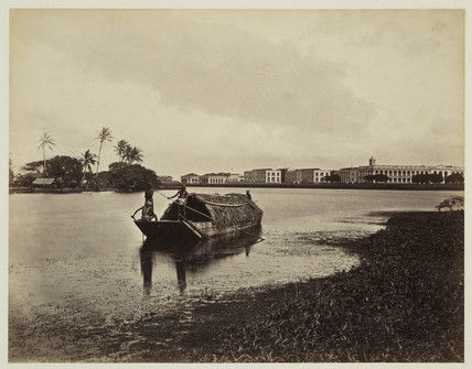 Lake and barracks, Colombo, Ceylon, c 1870.