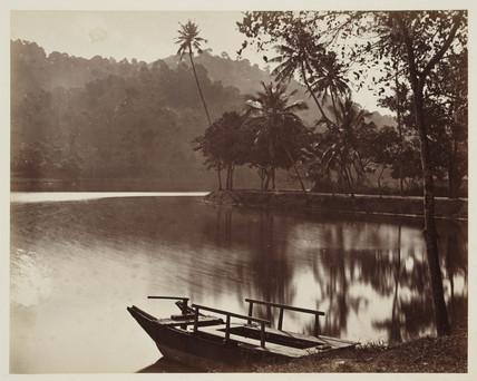 Lakeside landscape, Ceylon, c 1870.