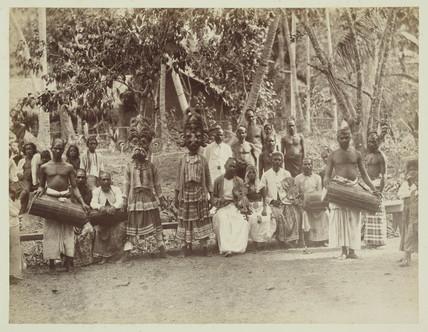Traditional theatre group, Ceylon, c 1870.