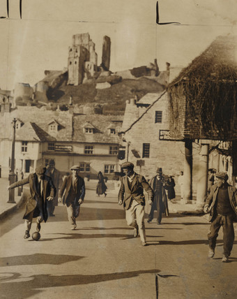 Shrove Tuesday fooball at Corfe Castle, 1938