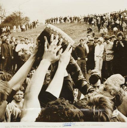Bottle-kicking in Hallaton, 1968.