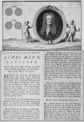 Trade card of James Mann, optician, Ludgate Hill, London, c1707-1751.