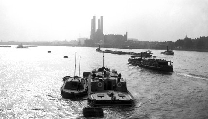 Barges on the River Thames, London, c 1930s.