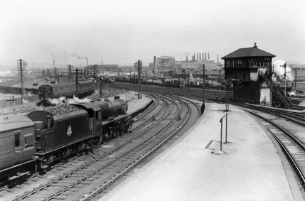 Steam locomotive at Rutherglen Station, Strathclyde, May 1955.