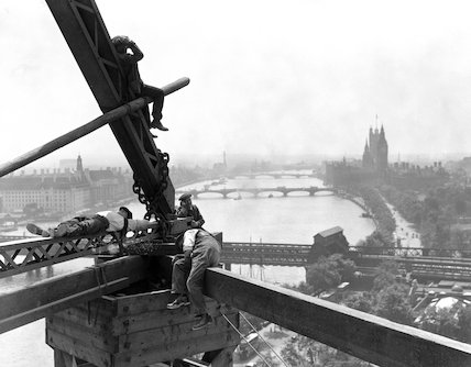 Construction workers on the Shell Building, London, 16 June 1932.