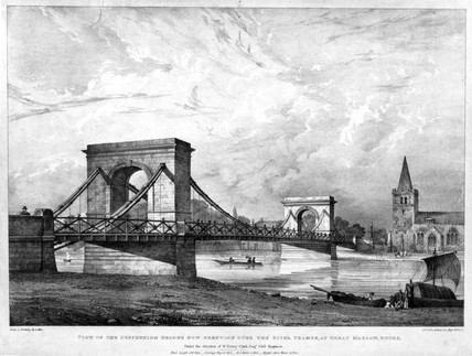 Suspension Bridge over the River Thames, Buckinghamshire, c 1830s.
